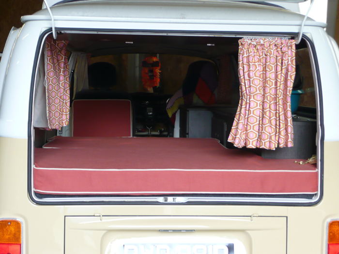 Camper van cushion upholstery & matching curtains by Couture Windows